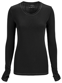 Cherokee Long Sleeve Underscrub Knit Tee Black (2626A-BAPS)
