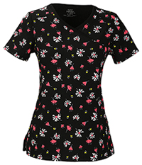Cherokee Mock Wrap Top Flower The Leader Black (2628A-FWLD)