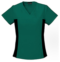 Cherokee V-Neck Knit Panel Top Hunter Green (2874-HNTB)