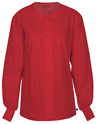 Cherokee Workwear Unisex Snap Front Warm-up Jacket Red (34350A-REDW)