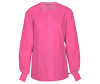 Unisex Snap Front Warm-up Jacket Shocking Pink (34350A-SHPW)