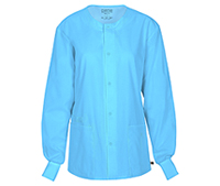 Cherokee Workwear Unisex Snap Front Warm-up Jacket Turquoise (34350A-TRQW)