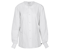 Cherokee Workwear Unisex Snap Front Warm-up Jacket White (34350A-WHTW)