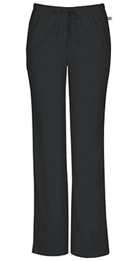 Cherokee Workwear Mid Rise Moderate Flare Drawstring Pant Black (44101A-BLKW)
