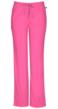 Cherokee Workwear Mid Rise Moderate Flare Drawstring Pant Shocking Pink (44101A-SHPW)