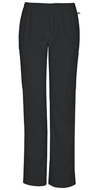 Cherokee Workwear Mid Rise Straight Leg Elastic Waist Pant Black (44200A-BLKW)