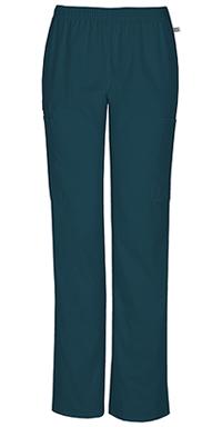 Cherokee Workwear Mid Rise Straight Leg Elastic Waist Pant Caribbean Blue (44200A-CARW)