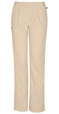 Cherokee Workwear Mid Rise Straight Leg Elastic Waist Pant Khaki (44200A-KAKW)