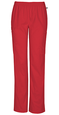 Cherokee Workwear Mid Rise Straight Leg Elastic Waist Pant Red (44200A-REDW)