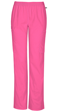 Cherokee Workwear Mid Rise Straight Leg Elastic Waist Pant Shocking Pink (44200A-SHPW)