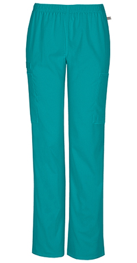 Cherokee Workwear Mid Rise Straight Leg Elastic Waist Pant Teal Blue (44200A-TLBW)