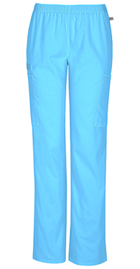 Cherokee Workwear Mid Rise Straight Leg Elastic Waist Pant Turquoise (44200A-TRQW)