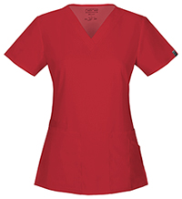 Cherokee Workwear V-Neck Top Red (44700A-REDW)