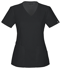 Cherokee Workwear Mock Wrap Top Black (44801A-BLKW)