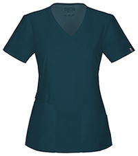 Cherokee Workwear Mock Wrap Top Caribbean Blue (44801A-CARW)