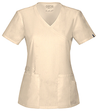 Cherokee Workwear Mock Wrap Top Khaki (44801A-KAKW)