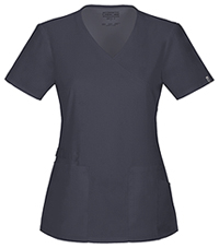 Cherokee Workwear Mock Wrap Top Pewter (44801A-PWTW)