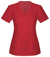 Cherokee Workwear Mock Wrap Top Red (44801A-REDW)