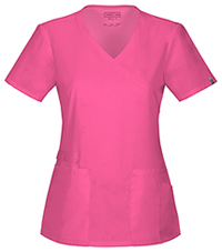 Cherokee Workwear Mock Wrap Top Shocking Pink (44801A-SHPW)