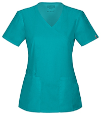 Cherokee Workwear Mock Wrap Top Teal Blue (44801A-TLBW)