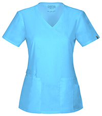 Cherokee Workwear Mock Wrap Top Turquoise (44801A-TRQW)