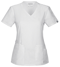 Cherokee Workwear Mock Wrap Top White (44801A-WHTW)