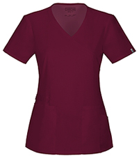 Cherokee Workwear Mock Wrap Top Wine (44801A-WINW)