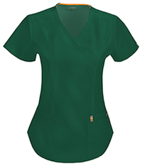 Code Happy Mock Wrap Top Hunter Green (46601A-HNCH)