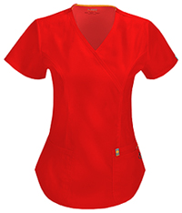 Code Happy Mock Wrap Top Red (46601A-RECH)
