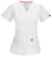 Code Happy V-Neck Top White (46607AB-WHCH)