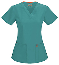 Code Happy V-Neck Top Teal (46607A-TLCH)
