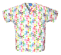 Scrub HQ V-Neck Top Butterfly Dots (4700-BUDO)