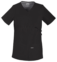 Cherokee Workwear Maternity V-Neck Knit Panel Top Black (4708-BLKW)
