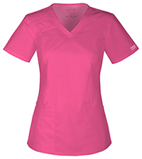 Cherokee Workwear V-Neck Top Shocking Pink (4710-SHPW)
