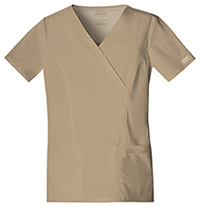 Cherokee Workwear Mock Wrap Top Dark Khaki (4728-DKAW)