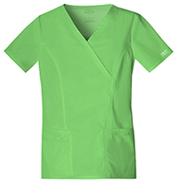 Cherokee Workwear Mock Wrap Top Honeydew (4728-HNYW)