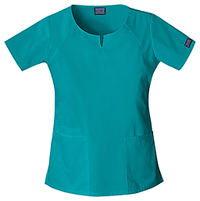 Cherokee Workwear Round Neck Top Teal Blue (4824-TLBW)