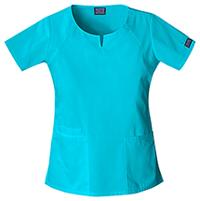 Cherokee Workwear Round Neck Top Turquoise (4824-TRQW)