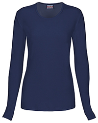 Cherokee Workwear Long Sleeve Underscrub Knit Tee Navy (4881-NAVW)