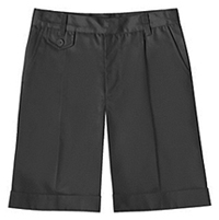 Pleatd Fly Front Short Adjustable Waist Black (52112E-BLK)