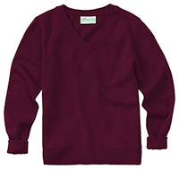 Classroom Uniforms Adult Unisex Long Sleeve V-Neck Sweater Burgundy (56704-BUR)