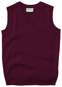 Classroom Uniforms Adult Unisex V-Neck Sweater Vest Burgundy (56914-BUR)
