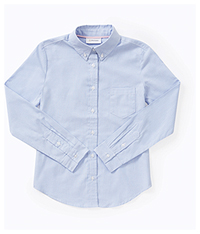 Classroom Uniforms Girls Long Sleeve Oxford Shirt Light Blue (57412-LTB)
