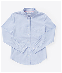 Classroom Uniforms Juniors Long Sleeve Oxford Shirt Light Blue (57414-LTB)