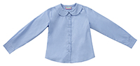 Classroom Uniforms Girls Long Sleeve Peter Pan Blouse Blue (57882-BLUU)