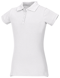 Classroom Uniforms Girls Stretch Pique Polo SS White (58222-SSWT)
