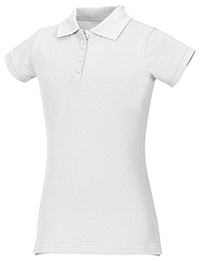 Junior Stretch Pique Polo (58224-WHT)