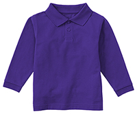 Classroom Uniforms Preschool Unisex LS Pique Polo Dark Purple (58350-DKPR)