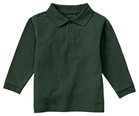 Classroom Uniforms Preschool Unisex LS Pique Polo Hunter Green (58350-HUN)