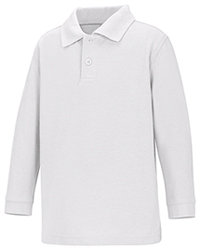 Classroom Uniforms Preschool Unisex LS Pique Polo White (58350-WHT)